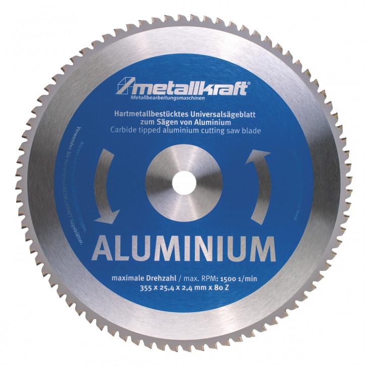 HM-Sägeblatt Ø355x2,4x25,4mm Z80, für Aluminium (für Metall-Trockenschneider)