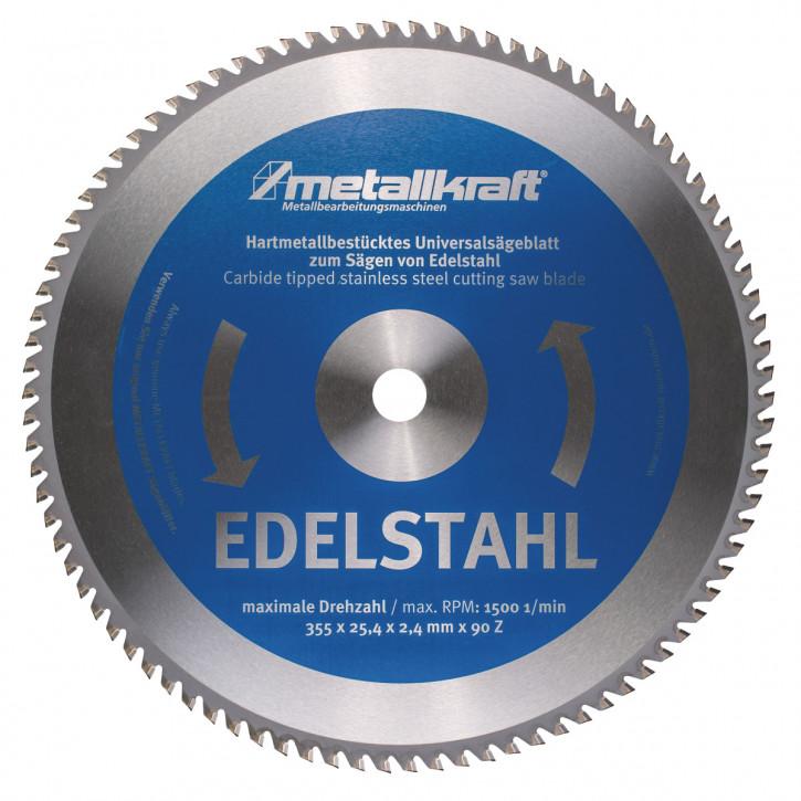 HM-Sägeblatt Ø355x2,4x25,4mm Z90, für Edelstahl (für Metall-Trockenschneider)