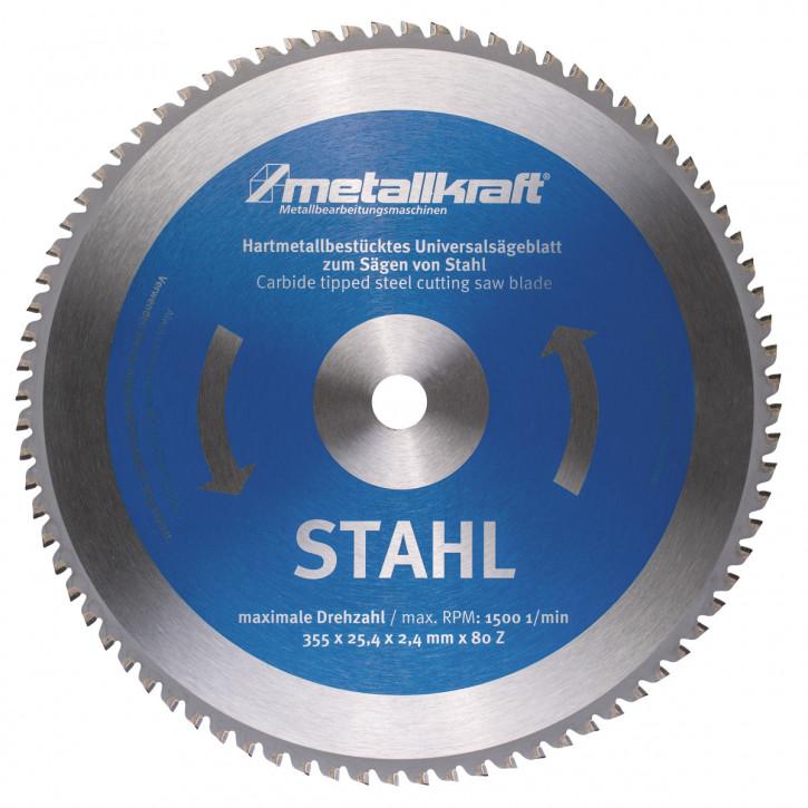 HM-Sägeblatt Ø355x2,4x25,4mm Z80, für Stahl (für Metall-Trockenschneider)