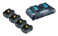 MAKITA Power Source-Kit 18V/5,0Ah (4 Akkus + Doppel-Ladegerät)
