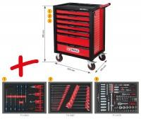 KS-Tools Werkstattwagen RACINGline schwarz/rot mit 7 Schubladen und 215 Premium-Werkzeugen